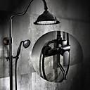 billige Frittstående vask-Dusjkran - Antikk Olje-gnidd Bronse Centersat Keramisk Ventil Bath Shower Mixer Taps / Messing / Enkelt håndtak tre hull