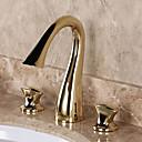 billiga Cirkeldesign-Badrum Tvättställ Kran - Utbredd Ti-PVD Hål med bredare avstånd Två handtag tre hålBath Taps