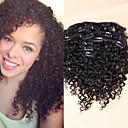 billiga Takfasta och semitakfasta taklampor-Klämma in Människohår förlängningar Kinky Curly Äkta hår Hårförlängningar av äkta hår Dam Svart