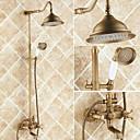 povoljno Ključanica-Slavina za tuš - Starinski Starinski Bakar Središnje pozicionirane Keramičke ventila Bath Shower Mixer Taps / Brass / Dvije ručke tri rupe