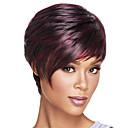 Χαμηλού Κόστους Χωρίς κάλυμμα-Συνθετικές Περούκες Ίσιο Ίσια Κούρεμα καρέ Σύντομο βαρίδι Με αφέλειες Περούκα Ombre σκούρο κρασί Συνθετικά μαλλιά Γυναικεία Ανθεκτικό στη Ζέστη Μαλλιά με ανταύγειες Ombre