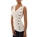 Χαμηλού Κόστους Ρούχα του γκολφ-Γυναικεία Μεγάλα Μεγέθη Αμάνικη Μπλούζα Εξόδου Κομψό στυλ street Μονόχρωμο Λεπτό Σουρωτά Λευκό / Άνοιξη / Καλοκαίρι / Sexy