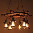 billiga Våtdräkter underställ och rashguards-6-Light Industriell Hängande lampor Fluorescerande Målad Finishes Trä / Bambu Glas Ministil 110-120V / 220-240V Glödlampa inte inkluderad / E26 / E27