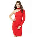 Χαμηλού Κόστους Άλλα εργαλεία χειρός-Γυναικεία Κλαμπ Βαμβάκι Θήκη Φόρεμα - Μονόχρωμο Ως το Γόνατο Ένας Ώμος