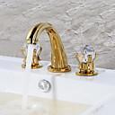 olcso Fürdőszobai kagyló csaptelep-Fürdőszoba mosogató csaptelep - Vízesés Aranyozott Három lyukas Két fogantyú három lyuk