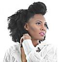 billige Lukning og frontside-PANSY Klipp På Hairextensions med menneskehår Kinky Curly Ekte hår Brasiliansk hår Svart