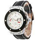 ราคาถูก รองเท้ากีฬาสำหรับผู้ชาย-สำหรับผู้ชาย นาฬิกาแฟชั่น นาฬิกาอิเล็กทรอนิกส์ (Quartz) หนัง ดำ 30 m ระบบอนาล็อก ขาว สีดำ