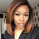 Χαμηλού Κόστους Εξτένσιος μαλλιών με φυσικό χρώμα-Συνθετικές Περούκες Ίσιο Kardashian Στυλ Κούρεμα καρέ Χωρίς κάλυμμα Περούκα Μαύρο Μαύρο / Medium Auburn Συνθετικά μαλλιά Γυναικεία Μεσαίο καρέ / Μαλλιά με ανταύγειες / Σκούρες ρίζες Μαύρο Περούκα