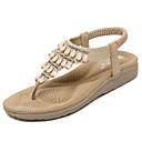 ราคาถูก วิกผมสังเคราะห์-สำหรับผู้หญิง รองเท้าแตะ รองเท้าส้นตึก ปลายกลม หินประกาย / ขวิด PU ความสะดวกสบาย / เท้าไฟ วสำหรับเดิน ฤดูใบไม้ผลิ / ฤดูร้อน สีดำ / Almond