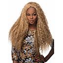 billige Kostymeparykk-Syntetiske parykker Krøllet Afro Stil Parykk Blond Lang Blond Syntetisk hår Dame Afroamerikansk parykk Blond Parykk