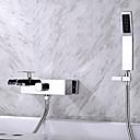 Χαμηλού Κόστους Ξεπλύνετε φώτα τοίχο Όρος-Βρύση Μπανιέρας - Σύγχρονο Χρώμιο Επιτοίχιες Κεραμική Βαλβίδα Bath Shower Mixer Taps / Δύο λαβές τρεις οπές