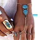 ราคาถูก สร้อยข้อมือ-สำหรับผู้หญิง Turquoise สร้อยข้อมือแหวน หล่น สุภาพสตรี โบฮีเมียน แฟชั่น โบโฮ เรซิน สร้อยข้อมือเครื่องประดับ สีเงิน สำหรับ ปาร์ตี้