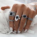 billiga Modearmband-Dam Ring Ringar Set Pinky Ring 5pcs Guld Silver Syntetiska Ädelstenar Zink Alloy Rund Cirkel Form Geometrisk damer Asiatisk Geometrisk Julklappar Bröllop Smycken prinsessa Blomma