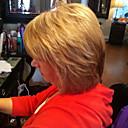 Χαμηλού Κόστους Βάζα & Κουτιά-Ανθρώπινη Τρίχα Περούκα Κοντό Ίσιο Κούρεμα καρέ Με αφέλειες Ίσια Πλευρικό μέρος Μηχανοποίητο Γυναικεία Μεσαία Auburn / Bleach Blonde
