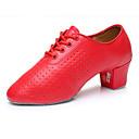 ราคาถูก รองเท้าเต้นโมเดิร์นและรองเท้าบัลเล่ต์-สำหรับผู้ชาย รองเท้าเต้นรำ หนังเทียม ลาติน ส้น ส้นต่ำ ตัดเฉพาะได้ แดง / Performance