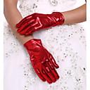 ราคาถูก ของตกแต่งวันคริสต์มาส-หนังเทียม ความยาวข้อมือ ถุงมือ ถุงมือเจ้าสาว กับ จับย่น