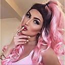 ราคาถูก วิกผมลูกไม้สังเคราะห์ระดับพรีเมียม-วิกผมสังเคราะห์ Wavy / คลื่นหลัก Kardashian สไตล์ ไม่มีฝาครอบ ผมปลอม สีชมพู Pink สังเคราะห์ สำหรับผู้หญิง ผม Ombre / รากมืด / เส้นผมธรรมชาติ สีชมพู วิก ยาว