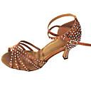 Χαμηλού Κόστους Παπούτσια χορού λάτιν-Γυναικεία Παπούτσια Χορού Σατέν Παπούτσια χορού λάτιν Τεχνητό διαμάντι Πέδιλα Προσαρμοσμένο τακούνι Εξατομικευμένο Χρυσό / Μαύρο / Αμύγδαλο / Εσωτερικό / EU43