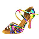 povoljno Odjeća za latino plesove-Žene Plesne cipele Koža Cipele za latino plesove Kopča / Ukriženo Sandale Kubanska potpetica Moguće personalizirati Duga / Seksi blagdanski kostimi / EU41