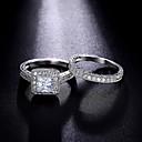 ราคาถูก แหวน-สำหรับผู้หญิง แหวน แหวนหมั้น Cubic Zirconia สีเงิน Cubic Zirconia Silver รอบ ความหรูหรา คลาสสิก แฟชั่น งานแต่งงาน ปาร์ตี้ เครื่องประดับ เจ้าหญิง / ทุกวัน