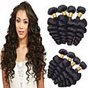 billige Hairextension med naturlig farge-4 pakker Brasiliansk hår Løse bølger Ubehandlet hår Menneskehår Vevet Hårvever med menneskehår Hairextensions med menneskehår / Rett