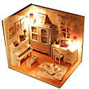 billiga Dockhus-Hoomeda Dockhus Modellbyggset LED ljus GDS (Gör det själv) Utsökt Möbel Hus Textil Trä Plast 1 pcs Barn Flickor Leksaker Present / Handgjort