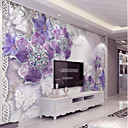cheap Wall Murals-Purple Flash Silver Diamond Flower Custom 3D Large Wall Cover Mural Wallpaper Fit Coffee Room Bedroom Kitchen Art Flowe