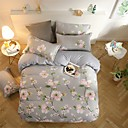 ราคาถูก ปลอกผ้าห่มลายดอกไม้-ชุดผ้านวมคลุม ลายดอกไม้ Poly / Cotton Reactive Print 4 ชิ้นBedding Sets / 300 / (ถ้าขนาดคู่, มีเพียง 1 การเลียนแบบหรือปลอกหมอน)