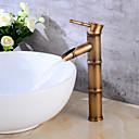 זול ברזים לחדר האמבטיה-שסתום קרמיקה עכשווי עכשווי אחד לטפל אחד חור עתיק נחושת, אמבטיה לשקוע ברז הברזים