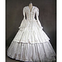 ราคาถูก เสื้อผ้าประวัติศาสตร์และวินเทจ-Rococo Victorian ศตวรรษที่ 18 หนึ่งชิ้น ชุดเดรส Party Costume Masquerade สำหรับผู้หญิง ซาติน เครื่องแต่งกาย ขาว Vintage คอสเพลย์ ปาร์ตี้ Prom แขนยาว ลากพื้น บอลกาวน์ ขนาดพิเศษ ที่กำหนดเอง