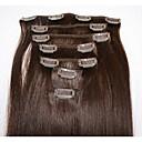 billige Blondeparykker med menneskehår-Klipp På Hairextensions med menneskehår Rett Ekte hår Hairextensions med menneskehår Brasiliansk hår Dame Mørkebrun