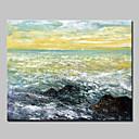 billige Abstrakte malerier-Hang malte oljemaleri Håndmalte - Abstrakte Landskap Abstrakt Moderne Uten Indre Ramme