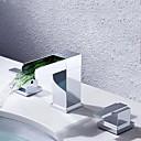 povoljno Slavine za umivaonik-Kupaonica Sudoper pipa - Waterfall Chrome Slavine s tri otvora Dvije ručke tri rupeBath Taps / Brass