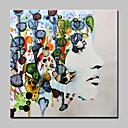 Χαμηλού Κόστους Πίνακες με Ζώα-Hang-ζωγραφισμένα ελαιογραφία Ζωγραφισμένα στο χέρι - Άνθρωποι Αφηρημένο Μοντέρνα Χωρίς Εσωτερικό Πλαίσιο / Κυλινδρικός καμβάς