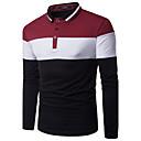 billige Oxfordsko til herrer-Tynn Skjortekrage Polo Herre - Fargeblokk Aktiv / Gatemote Svart og hvit Rød / Langermet