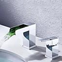 Χαμηλού Κόστους Κρεμάστρες για Μπουρνούζια-Μπάνιο βρύση νεροχύτη - Καταρράκτης Χρώμιο Αναμεικτικές με ξεχωριστές βαλβίδες Ενιαία Χειριστείτε δύο τρύπεςBath Taps / Ορείχαλκος