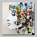 Χαμηλού Κόστους Αφηρημένοι Πίνακες-Hang-ζωγραφισμένα ελαιογραφία Ζωγραφισμένα στο χέρι - Άνθρωποι Αφηρημένο Μοντέρνα Χωρίς Εσωτερικό Πλαίσιο / Κυλινδρικός καμβάς