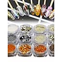 Χαμηλού Κόστους νυχιών Glitter-12pcs / 1set Γκλίτερ Πούλιες Για Νύχι Χεριού Νύχι Ποδιού Αναλαμπή τέχνη νυχιών Μανικιούρ Πεντικιούρ Κομψό & Πολυτελές / Φανταχτερό Πάρτι / Βράδυ / Καθημερινά / Ταξίδι του Μέλιτος
