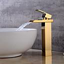זול ברזים לחדר האמבטיה-חדר רחצה כיור ברז - מפל מים מוזהב סט מרכזי חור ידית אחת אחתBath Taps