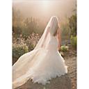 cheap Lingerie-One-tier Cut Edge Wedding Veil Chapel Veils with Flower Comb Tulle / Angel cut / Waterfall