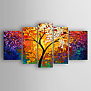cheap Abstract Paintings-Oil Painting Hand Painted - Abstract Abstract Stretched Canvas / Five Panels