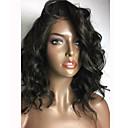 halpa Aitohiusperuukit verkolla-Aidot hiukset Liimaton puoliverkko Lace Front Peruukki tyyli Brasilialainen Runsaat laineet Peruukki 150% Hiusten tiheys ja vauvan hiukset Luonnollinen hiusviiva Afro-amerikkalainen peruukki 100