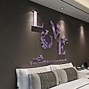 billige Veggklokker-Romantik Veggklistremerker 3D Mur Klistremerker Dekorative Mur Klistermærker Bryllups klistermærker, Akryl Hjem Dekor Veggoverføringsbilde