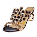 ราคาถูก รองเท้าแตะผู้หญิง-สำหรับผู้หญิง รองเท้าแตะ หินประกาย แวววาว ความสะดวกสบาย ฤดูร้อน สีดำ / สีทอง / ฟ้า / EU40