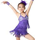 billige Danseklær til barn-Latin Dans Drakter Trening Spandex / Paljetter Paljett / Dusk Ermeløs Naturlig / Oppvisning / Ballrom