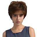 billiga Tupéer-Mänskligt hår Peruk Rak Klassisk Korta frisyrer 2019 Berry Klassisk Rak Maskingjord Medium Rödbrun Dagligen