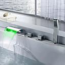 billiga Badkarskranar-Badkarskran - Nutida / LED Krom Hål med bredare avstånd Mässing Ventil Bath Shower Mixer Taps / Tre Handtag Fem hål