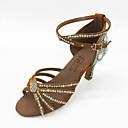 povoljno Cipele za latino plesove-Žene Plesne cipele Saten Cipele za latino plesove Štras / Kristal Sandale Stiletto potpetica Braon / Unutrašnji