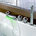 ราคาถูก ก๊อกอ่างอาบน้ำ-ก๊อกอ่างอาบน้ำ - ร่วมสมัย นาฬิกา LED มีสี กระจาย Brass Valve