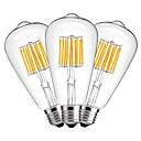 ราคาถูก ผมสีธรรมชาติ-3 ชิ้น 10 W หลอดไฟLED Filament 1000 lm E27 ST64 10 ลูกปัด LED COB ตกแต่ง ขาวนวล 220-240 V